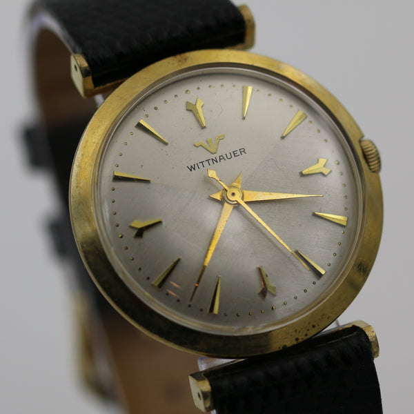 1950s Wittnauer Men Swiss Made 10K Gold Tri-Color Dial Watch