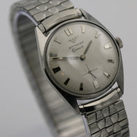 1950s Wittnauer Men's Silver Swiss Made Watch w/ Silver Bracelet