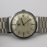 Favre-Leuba Men's Silver Daymatic Automatic 21Jwl Swiss Made Watch w/ Bracelet