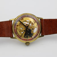 Vulcain Mens Gold Fully Skeletonized Swiss 17Jwl Watch w/ New Lizard Strap
