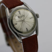 Lucien Piccard Men's Silver Unique Dial Watch w/ Leather Strap