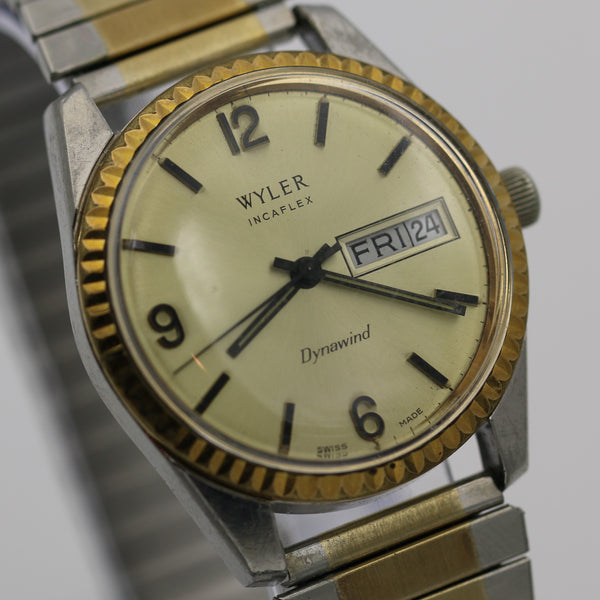 Wyler Men's Swiss Made Automatic Gold Dynawind Incaflex Calendar Watch
