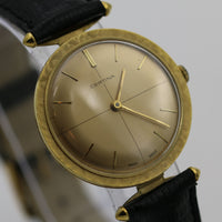 Certina Mens Swiss Made Gold Fancy Lugs and Bezel Quadrant Dial Ultra Thin Watch