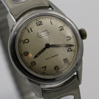 WWII Cyma / Tavannes Men's Automatic Swiss Made Bumpermatic Silver Watch w/ Bracelet