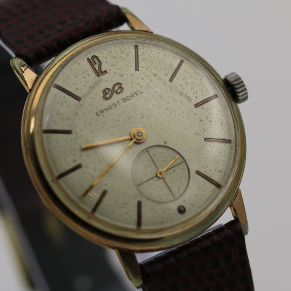 1950s Ernest Borel Men's Gold Swiss 17Jwl Watch w/ New Hirsch Strap