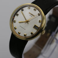 "1960s Movado Kingmatic ""S"" HS360 Men's Swiss Made Gold Large Calendar Watch w/ Strap"