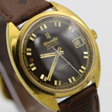 Nivada Grenchen Orbitron Mens Swiss Gold Automatic Calendar High Frequency Watch