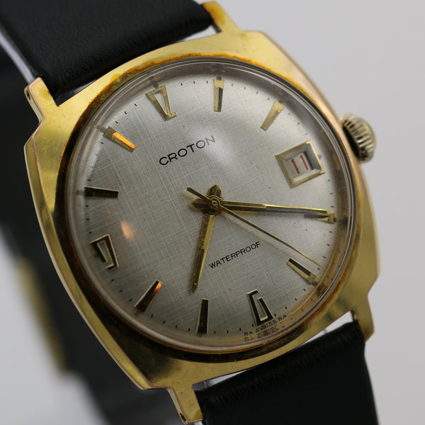 Croton Men's Swiss Made Gold Textured Dial Watch w/ Strap