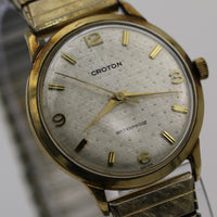 Croton Men's Swiss Made 10K Gold Textured Dial Watch w/ Gold Bracelet