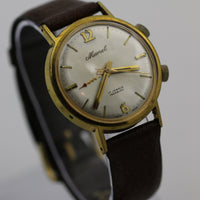 1960s Marcel Men's Alarm Gold Swiss Made 17Jwl Watch w/ Strap