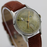 WWII Gotham Swiss Made Silver Date-O-Matic Pointer Watch