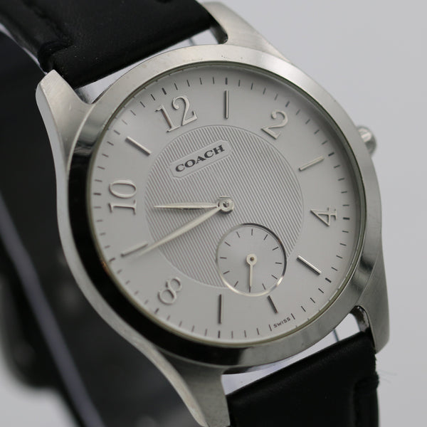 Coach by Movado Men's Swiss Leather Silver Quartz Watch