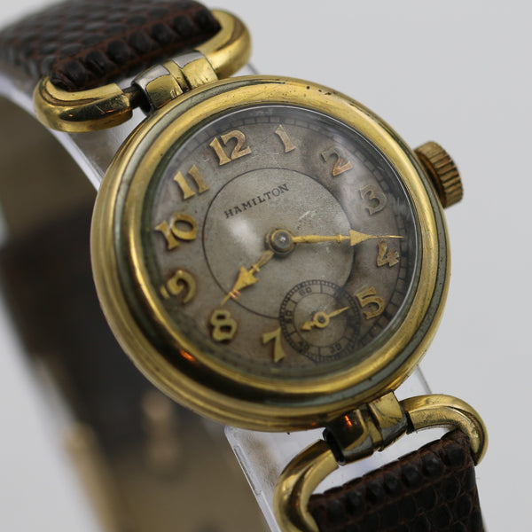 1935 Hamilton 10K Gold Fancy Watch w/ Genuine Lizard Strap