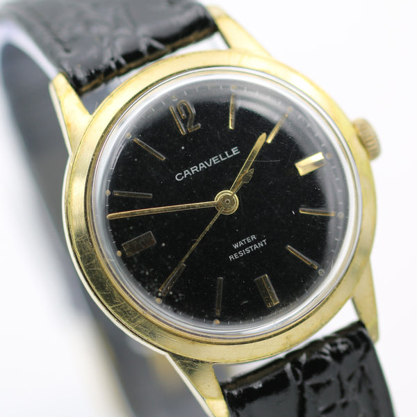 1969 Bulova-Caravelle Men's Gold Interesting Dial Fully Signed Watch w/ Croco Strap