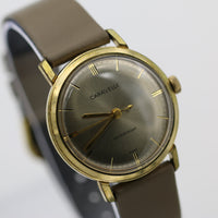 1963 Bulova / Caravelle Men's Gold Interesting Mirror Dial Fully Signed Watch w/ Strap