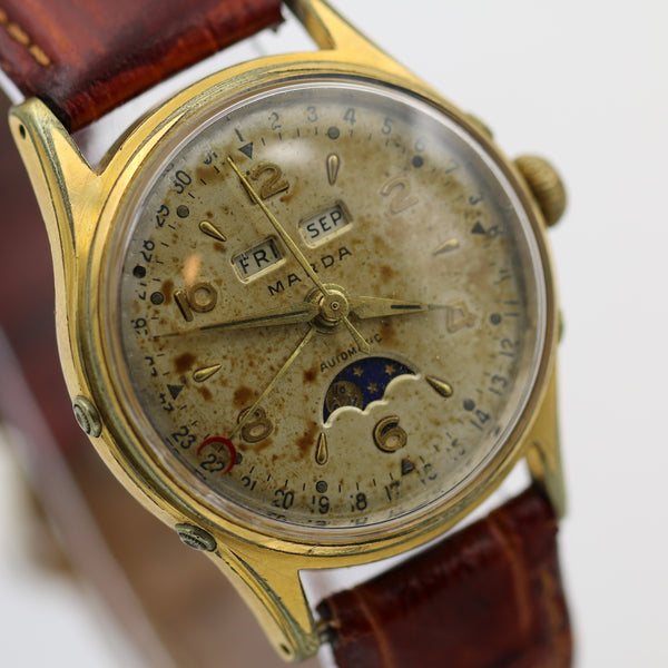 WWII Marda Mens Swiss Automatic Bidynator 17Jwl Pointer Calendar Moonphase Gold Watch