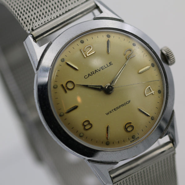 1963 Bulova / Caravelle Men's Swiss Made Silver Watch with Silver Bracelet