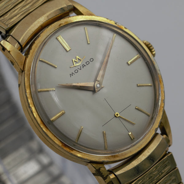 1940s Movado Men's Swiss Made Gold Large Watch w/ Bracelet