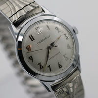 1967 Bulova / Caravelle Mens Silver Interesting Numeral Dial Watch w/ Bracelet
