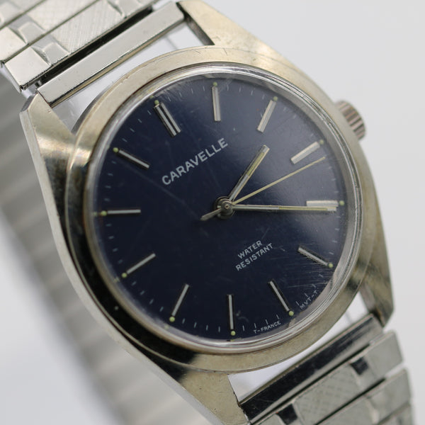 1978 Bulova / Caravelle Men's Silver Made in France Rare Blue Dial Watch with Bracelet