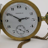 1979 Bulova / Caravelle Men's Gold Swiss Made 17Jwl Remontoir Ancre Hunter Case Pocket Watch