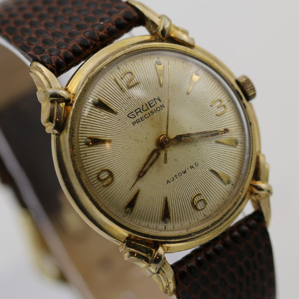 1940s Gruen Men's Swiss 17Jwl Automatic Fancy Knotted Lugs Gold Watch w/ Lizard Strap