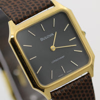 1982 Bulova LongChamp Mens Swiss 17Jwl Gold Ultra Thin Watch