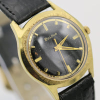 1969 Bulova Men's Automatic 17Jwl Gold Interesting Bezel Watch w/ Strap