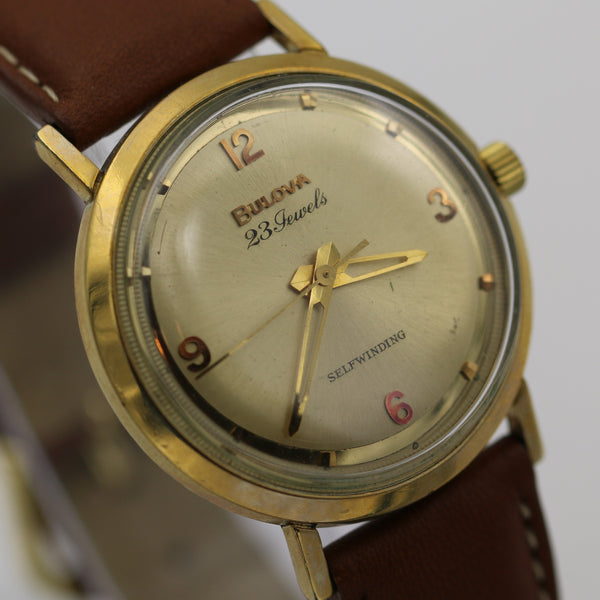 1964 Bulova Men's 10K Gold 23Jwl Automatic Fancy Mirror Dial Watch w/ Strap