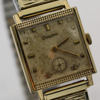 1966 Bulova Men's Swiss 17Jwl 10K Gold Textured Dial Watch w/ Bracelet