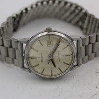 1968 Bulova Men's Swiss Automatic 17Jwl Silver Calendar Quadrant Dial Watch
