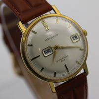 1970s Helbros Invincible Mens Gold 17Jwl Dual Calendar West Germany Watch