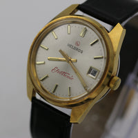 1970s Helbros Men's Electronic Swiss Made Calendar Gold Watch w/ Strap