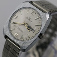 1970s Helbros Invincible Mens Silver 17Jwl Dual Calendar Watch w/ Bracelet - Mint