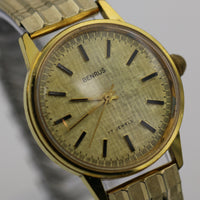 1960s Benrus Men's Gold 17Jwl Textured Large Dial Watch w/ Bracelet