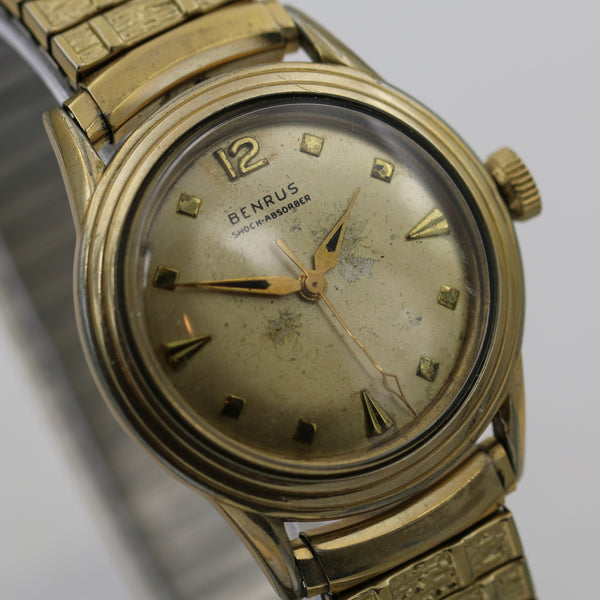 1940s Benrus Men's 10K Gold Unique Dial and Case Watch