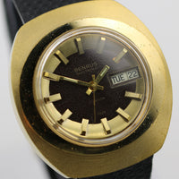 Benrus Citation Men's Electronic Gold Swiss Made Calendar Watch w/ Lizard Strap