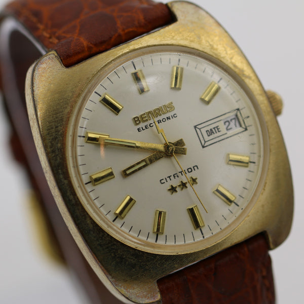 Benrus Citation Men's Electronic Gold Swiss Made Calendar Watch w/ Alligator Strap