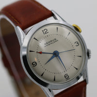 1960s Benrus Men's Alarm Swiss Made Silver Watch in Mint Condition w/ Strap