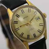 1960s Benrus Men's Swiss Made 17Jwl Automatic Gold Calendar Watch w/ Strap