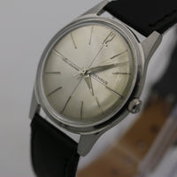 1960s Benrus Men's Swiss Made 17Jwl Silver Quadrant Dial Watch