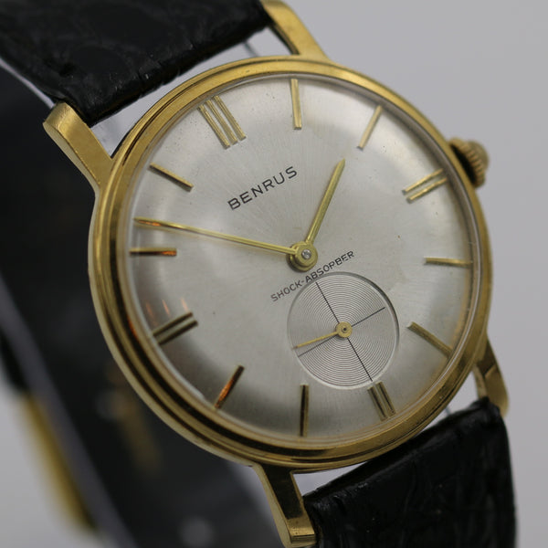 1960s Benrus Men's Gold 17Jwl Gorgeous Dial Watch w/ Strap