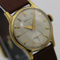 1950s Benrus Men's Swiss 10K Gold Quadrant Dial Watch w/ New Hirsch Calf Strap