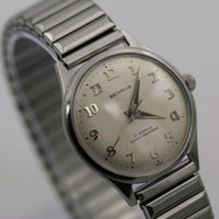 1960s Benrus Men's Swiss Made 17Jwl Silver Watch w/ Bracelet