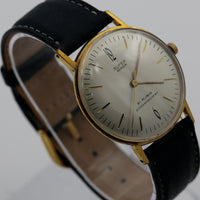 Super Anker Men's Gold 21Jwl First German Large Dial Ultra Thin Watch w/ Strap