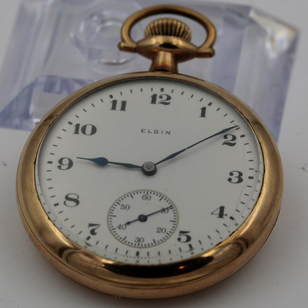 Iconic 1918 Elgin Men's Gold Made in USA Open Face Pocket Watch