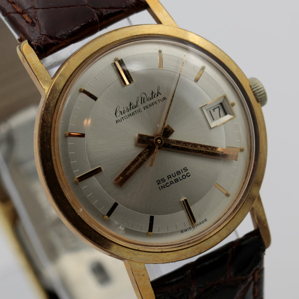 Cristal Men's Swiss Made 25Jwl Automatic Perpetual Gold Calendar Watch