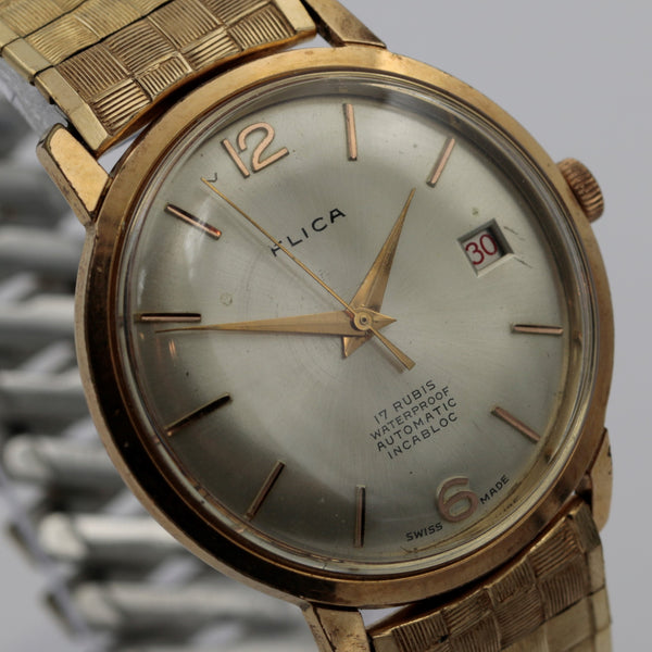 Flica Men's 17Jwl Automatic Gold Swiss Made Calendar Watch w/ Bracelet