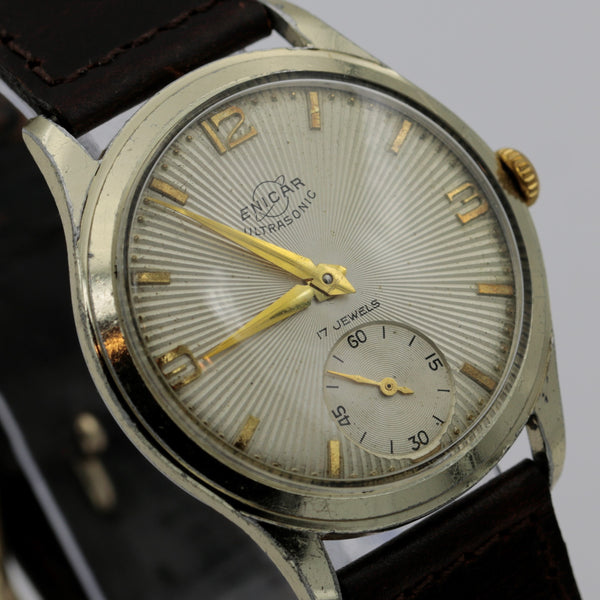1953 Enicar Ultrasonic Men's Gold 17Jwl Swiss Made Watch w/ Strap