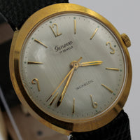 Geneve Aster Men's Gold Swiss Made 17Jwl Hidden Lugs Watch w/ New Lizard Strap